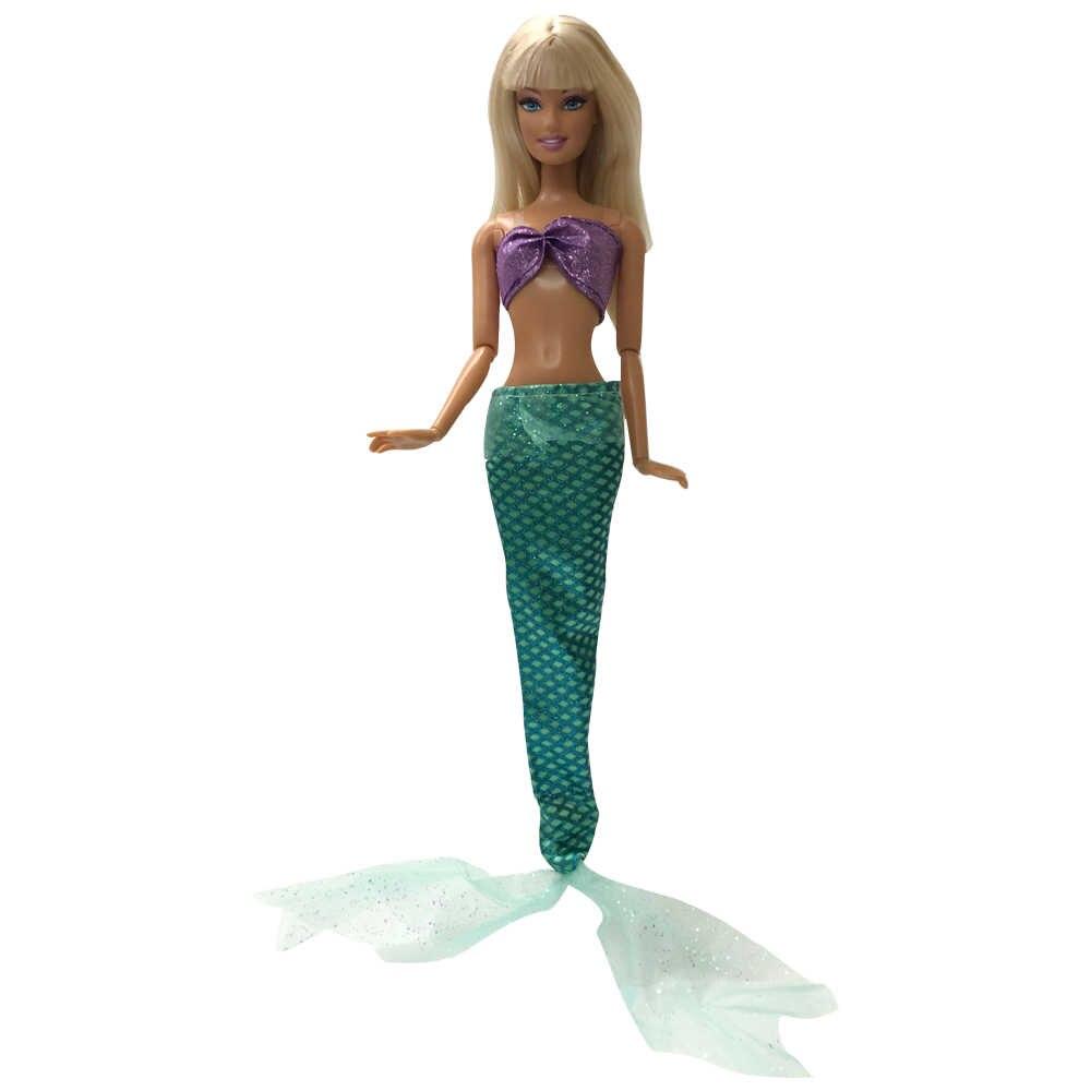 NK один комплект Кукольное платье принцессы подобные сказка хвост русалки свадебное платье наряд для вечеринки для куклы Барби лучший подарок для девочек