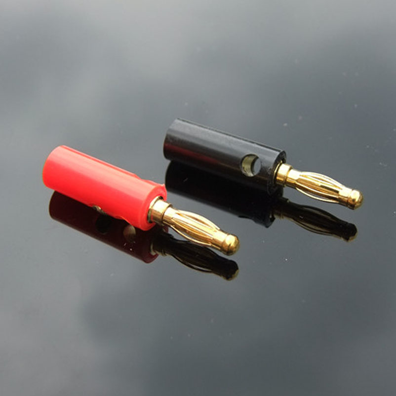 Red/ Black 4MM Banana Plug Gilded Lantern Plug Speaker Terminal with a Set Screw No Welding DIY Model Connector Accessories KG17 areyourshop 100 pcs speaker banana plug gold plate connector 45mm black and red