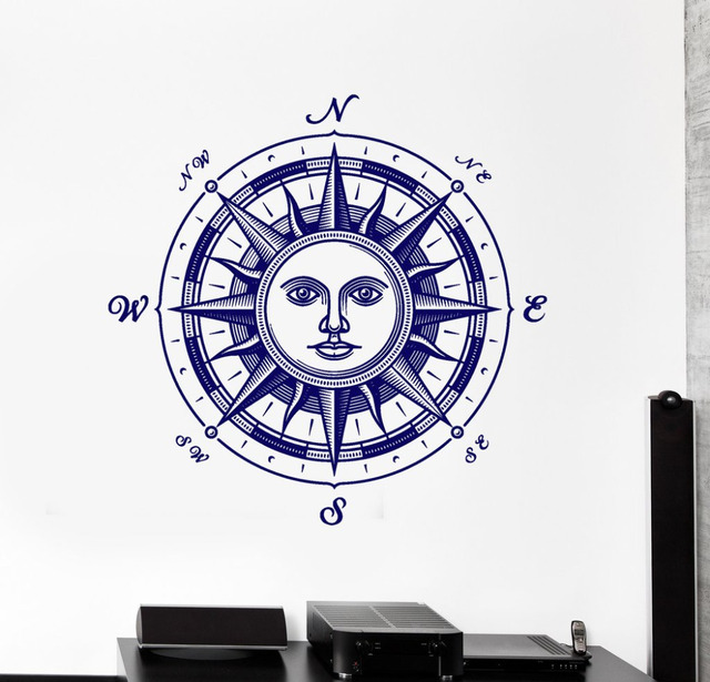 Hause schlafzimmer dekoration aufkleber kompass wandtattoo - Wandtattoo kompass ...