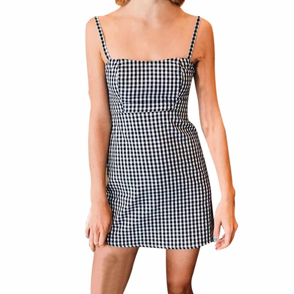 957641ea953b ... Dress Women Summer Backless Plaid Printed Strap Sleeveless Party Sexy  Mini Dresses printing summer dress for ...