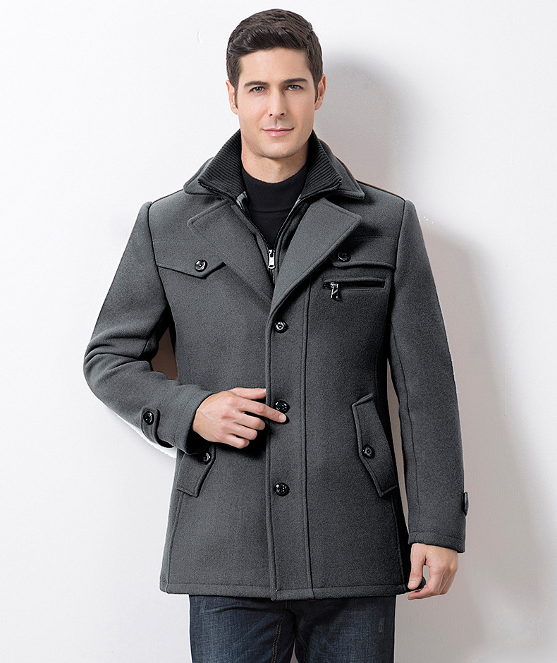Winter Men's Casual Wool Trench Coat Fashion Business Medium Solid Thicken Slim Windbreaker Overcoat Jacket Male Plus Size 5XL 21