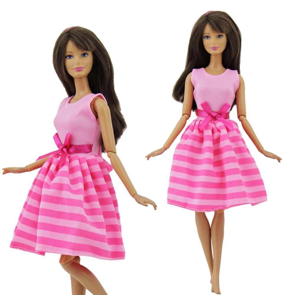 手作りファッションドレス結婚式のパーティーの摩耗ショートガウンピンクストライプちょう結びミニスカート服バービー子供