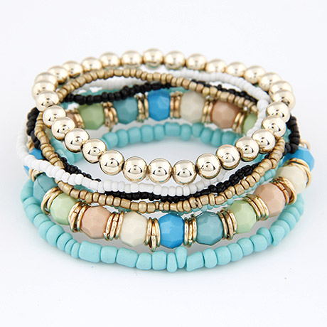 a039e978f4 LEMOER Spring Korean Designer Fashion Bohemia Beads Bracelet Beaded  Multilayer Strand Stretch Bracelets Bangles For women