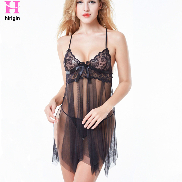 HIRIGIN Sexy Womens Lace Dress Lingerie Nightwear Underwear Sleepwear Sexy  Spaghetti Strap Nightgown See-Through Dress 30117c3f3