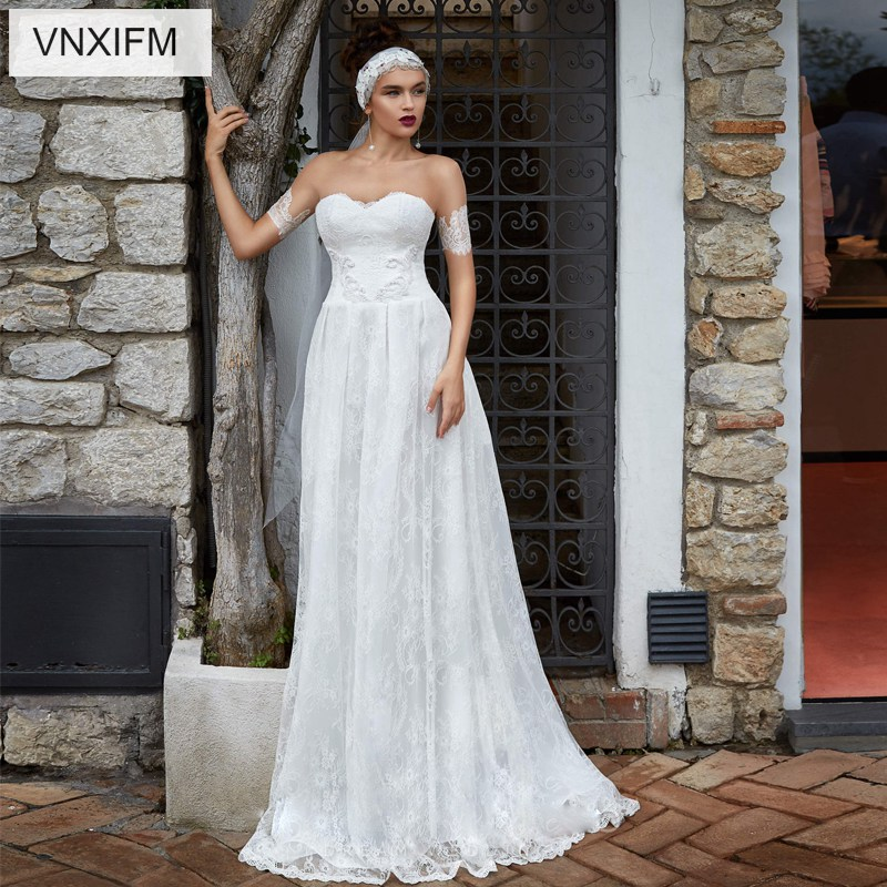 VNXIFM 2019 New Western Country Wedding Dresses Lace Chiffon Modest V Neck Half Sleeves Long Bohemian Bridal Gowns Robe