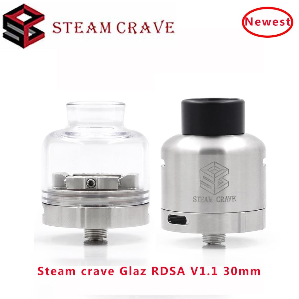 Newest Steam Crave Glaz RDSA V1.1 30mm Diagonal Top-side Airflow & Improved Squonk Part Electronic Vape Atomizer VS Glaz RDSA