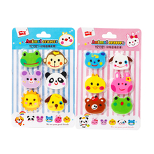 6pcs/lot Kawaii Erasers Cute Cartoon Animal Rubber Pencil Erasable Tool Reward Stationery Party Favors Eraser Gifts For Children