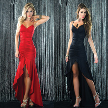 European style women party floor length dress sleeveless spaghetti strap v neck collar fit and flare M L XL XXL 1T020