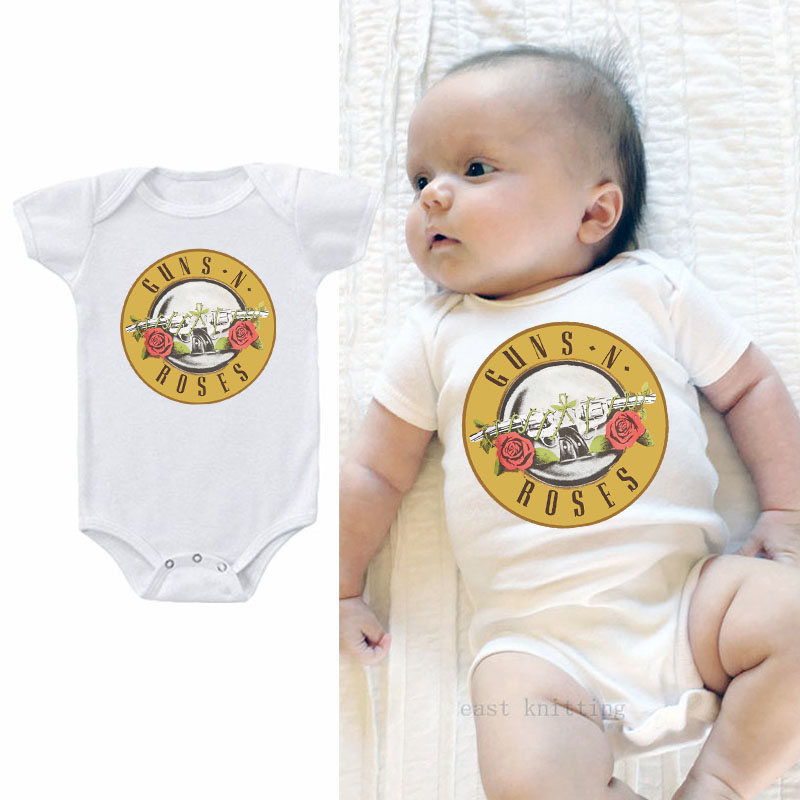 DERMSPE 2019 Summer New Style Baby Girls Boys Rompers Short Sleeve Guns N Roses Newborn Baby Clothes Print Jumpsuit White Hot