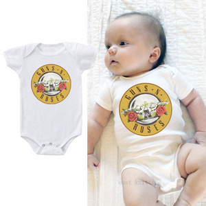 DERMSPE 2019 Summer New Style Baby Girls Boys Rompers Short Sleeve Guns N Roses Newborn Baby Clothes Print Jumpsuit White Hot(China)