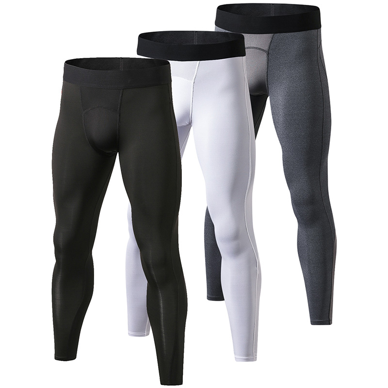 YEL Local Delivery 3pcs Compression Pants Gym Bodybuilding Sport Trousers Fitness Tight Sportswear Leggings Running Pants Men