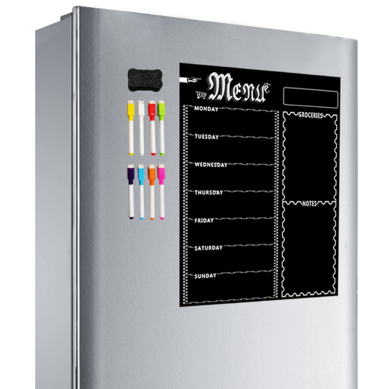 Placa magnética do menu geladeira adesivo com 8 marcadores de giz cor casa cozinha giz placa planejador semanal geladeira adesivo
