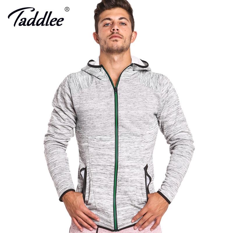 Taddlee marque sweat à capuche pour homme veste à glissière complète sport course Gym sweat à capuche à manches longues entraînement Gasp t-shirts coton