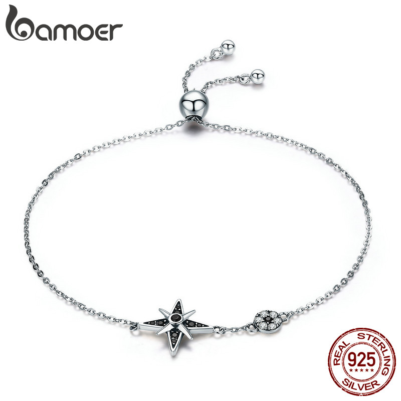 BAMOER 100% Authentic 925 Sterling Silver Star Light Sparkling CZ Chain Link Women Bracelet Sterling Silver Jewelry Gift SCB060 925 sterling silver cz by the yard anklet bracelet 10