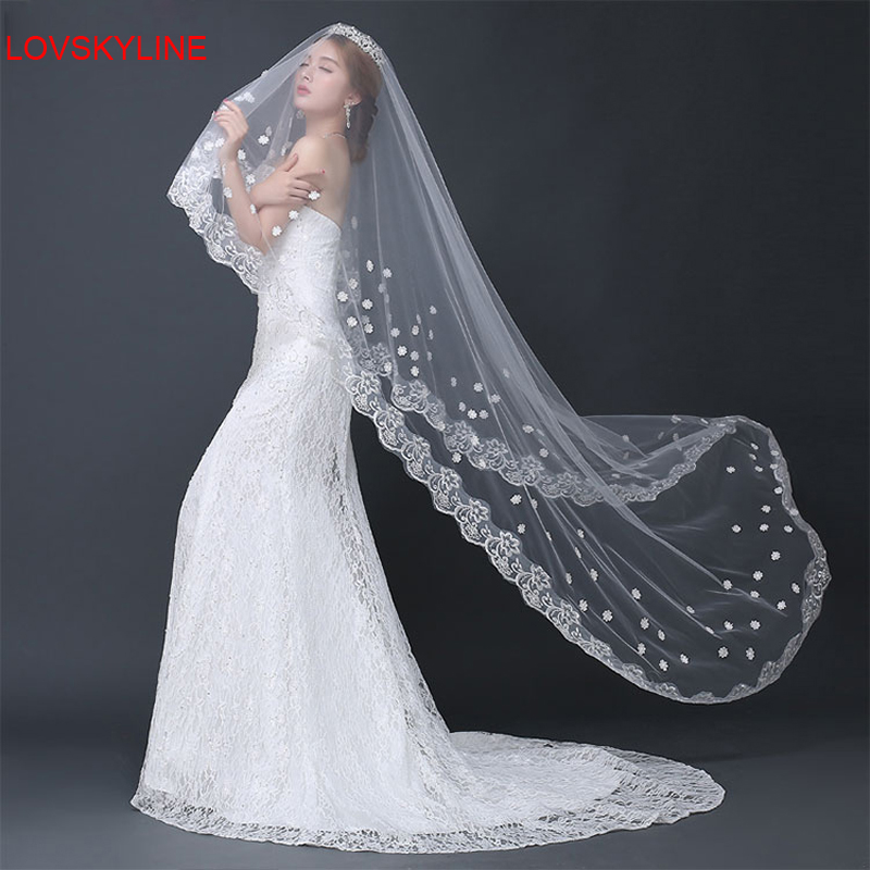 300CM Direct Selling Wedding Veils Long Acessorios Para Mulher White Bride Bridesmaid Lace For Dress Accessories