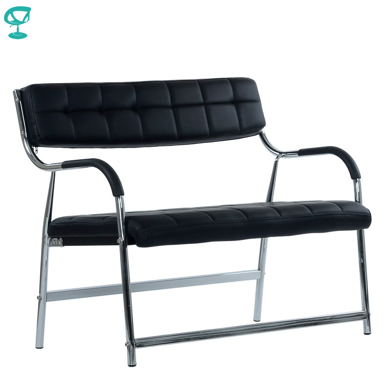 95454 Barneo K-12 Office Bench For Visitor 2 Persons Black Eco-leather Chrome Legs Chair Popular Model Free Shipping In Russia