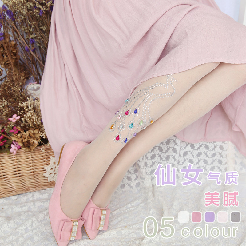 The new super beautiful peacock diamond drilling hot girl tights Slim candy-colored women tights