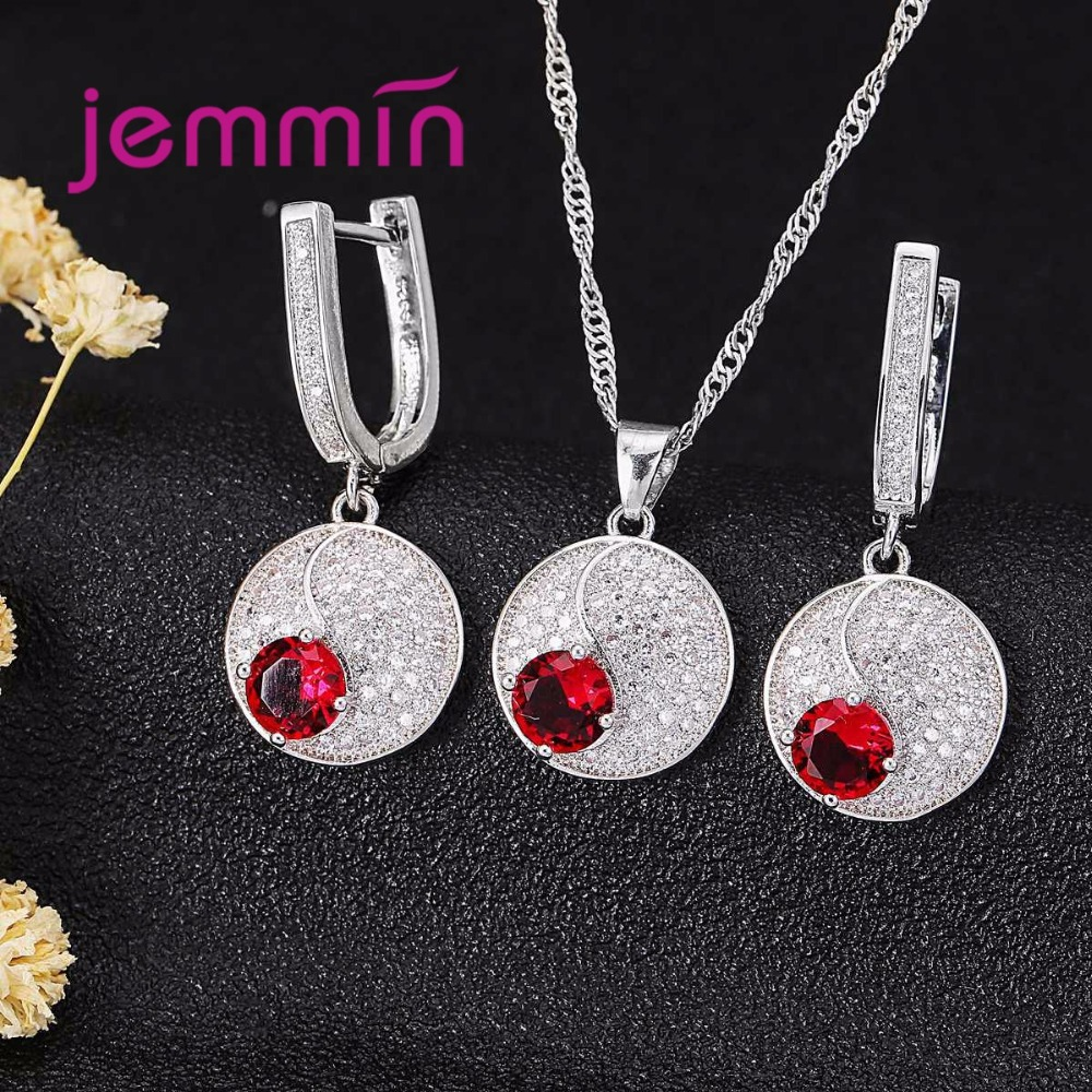 Simple Style Round 925 Sterling Silver Necklaces Earrings Jewelry Set With Fine Red Crystal For Women Simple Style Round 925 Sterling Silver Necklaces Earrings Jewelry Set With Fine Red Crystal For Women Lady Party
