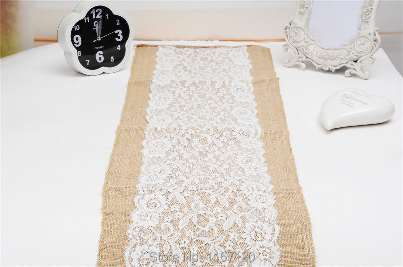 10Pcs 105*30cm Cheap Burlap Hessian With Lace Center Crochet Table Runner  For Wedding Decorative