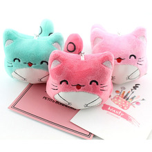 Plush Toy Pendant Big Face Cat Doll Animal Kitten Keychain Bag Hanging Decoration Couple Gift