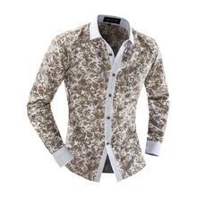 2017 high quality  men's clothing Plus size XXL luxury brand shirt men  long-sleeve slim shirt casual floral men shirts