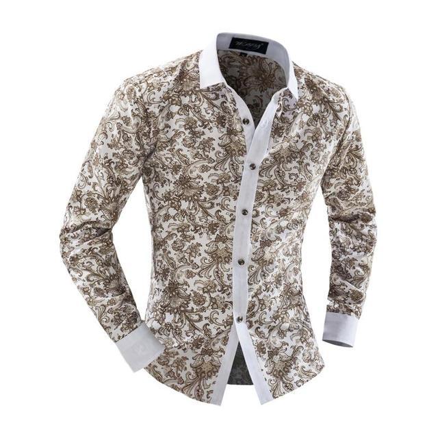 2017 hombres de alta calidad clothing plus tamaño xxl marca de lujo camisa de los hombres camisa de manga larga delgada ocasional floral camisas de los hombres