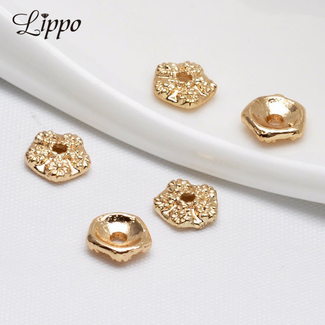 50pcs 75mm Bead Cap for jewerly making 24k Gold plated Rose Flower