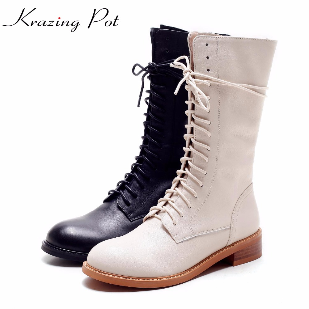 Krazing Pot full grain leather keep warm round toe lace up boots low heels rock punk handmade leisure riding mid-calf boots L08 krazing pot genuine leather sheep skin thick high heels square toe zipper boots women superstar party western mid calf boots l17
