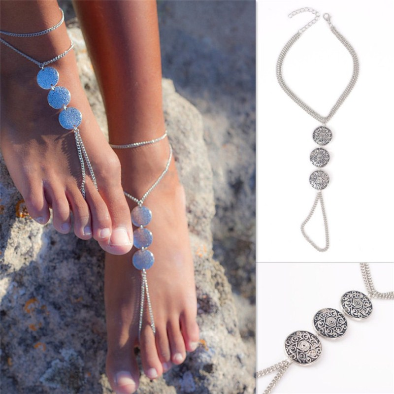 L155 Wholesale Fashion Bijoux Girl Charm Vintage Beach Silver Plated Coin Anklet For Women New 2017 Men Bracelet Foot Jewelry