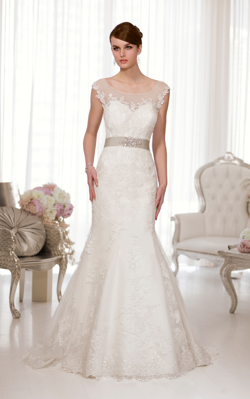 W3239 Mermaid Lace Wedding Dresses Sheer Lace Scoop With Cap Sleeves ...