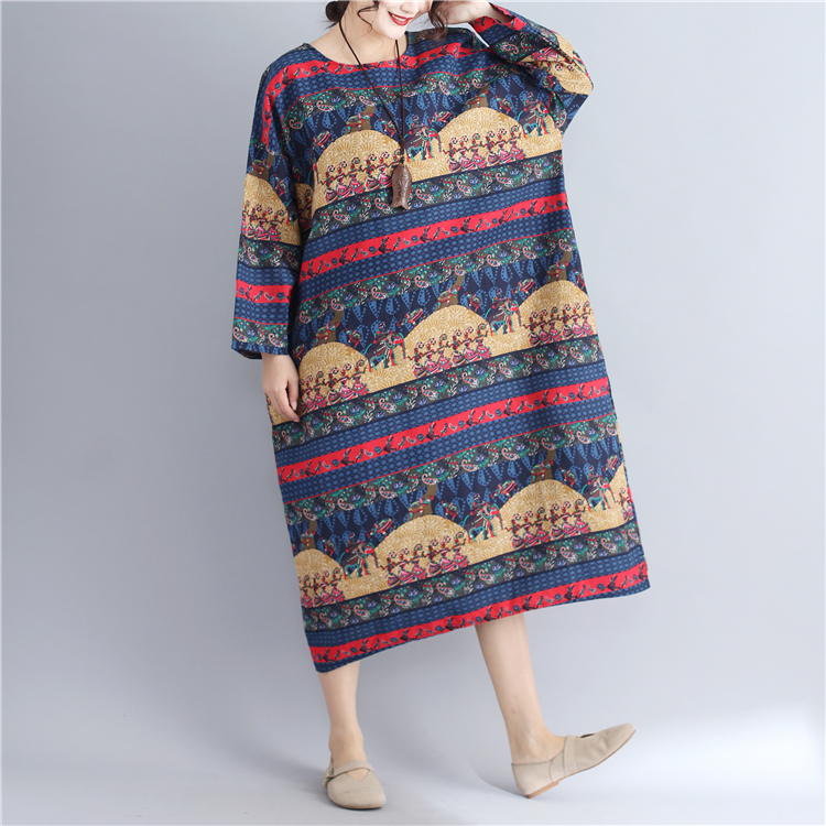 Lagenlook Cotton   Linen Mid Long Aztec Print Jumper Dress 2018 Plus Size  Long Sleeve voguees Baggy Tunic-in Dresses from Women s Clothing on  Aliexpress.com ... 6ea3fe7a70f9