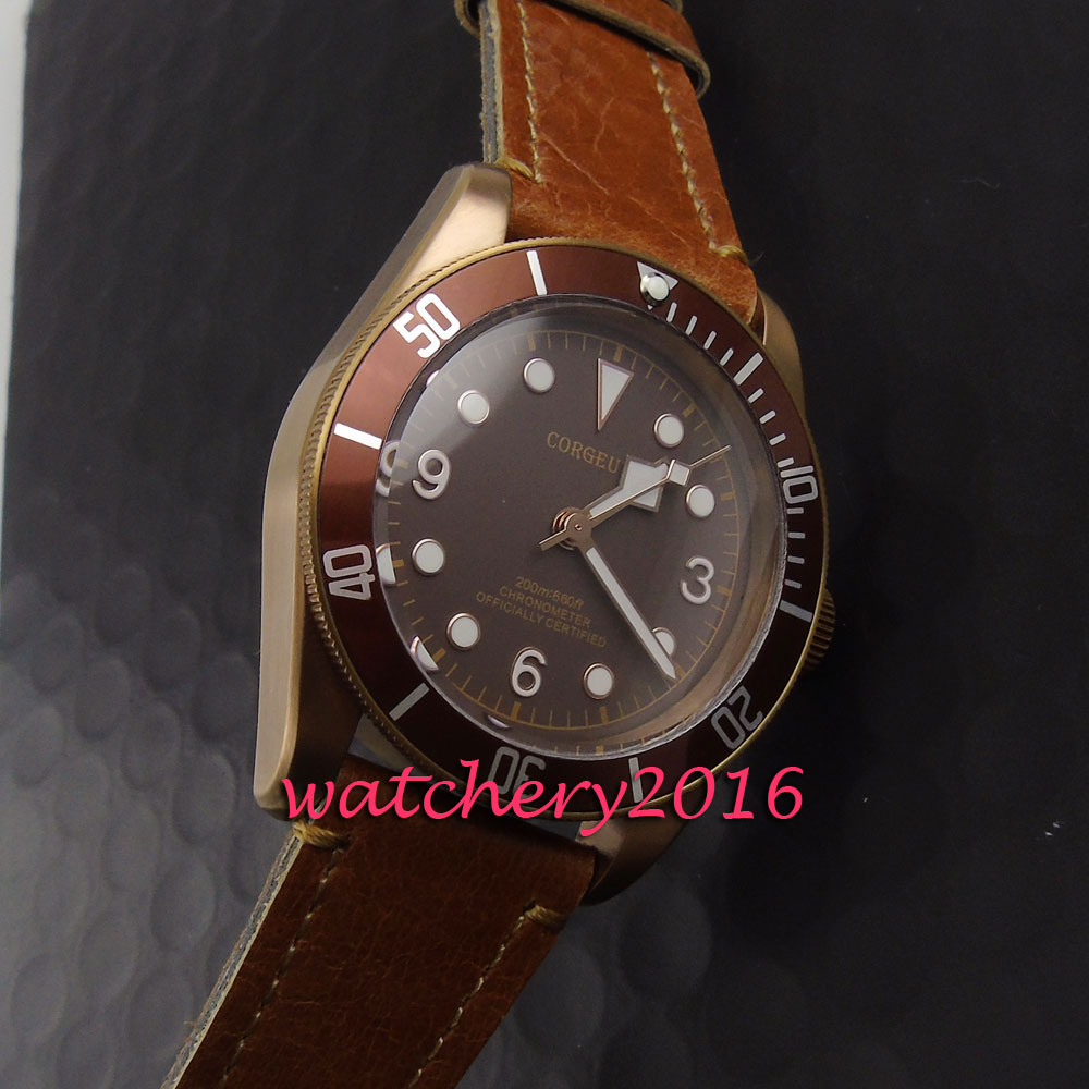 41mm Corgeut bronze PVD case Luminous Automatic Men's Watch Sapphire Glass Brown Dial Bracelet Clasp Mechanical Wristwatches bronze brown