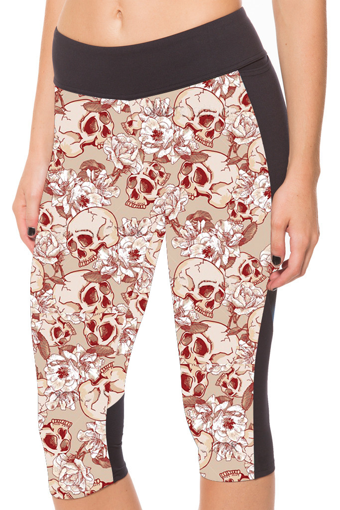 2016 New Arrival 6 Patterns Harajuku Floral Skull Printing Red Yuga Capris Pants Skeleton Printing Soccer Truacksuit For Women