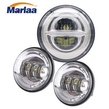 "Marlaa  7"" LED Headlight Projector + 2 x 4-1/2"" LED Auxiliary Spot Fog Light Passing Lamp for Motorcycle"