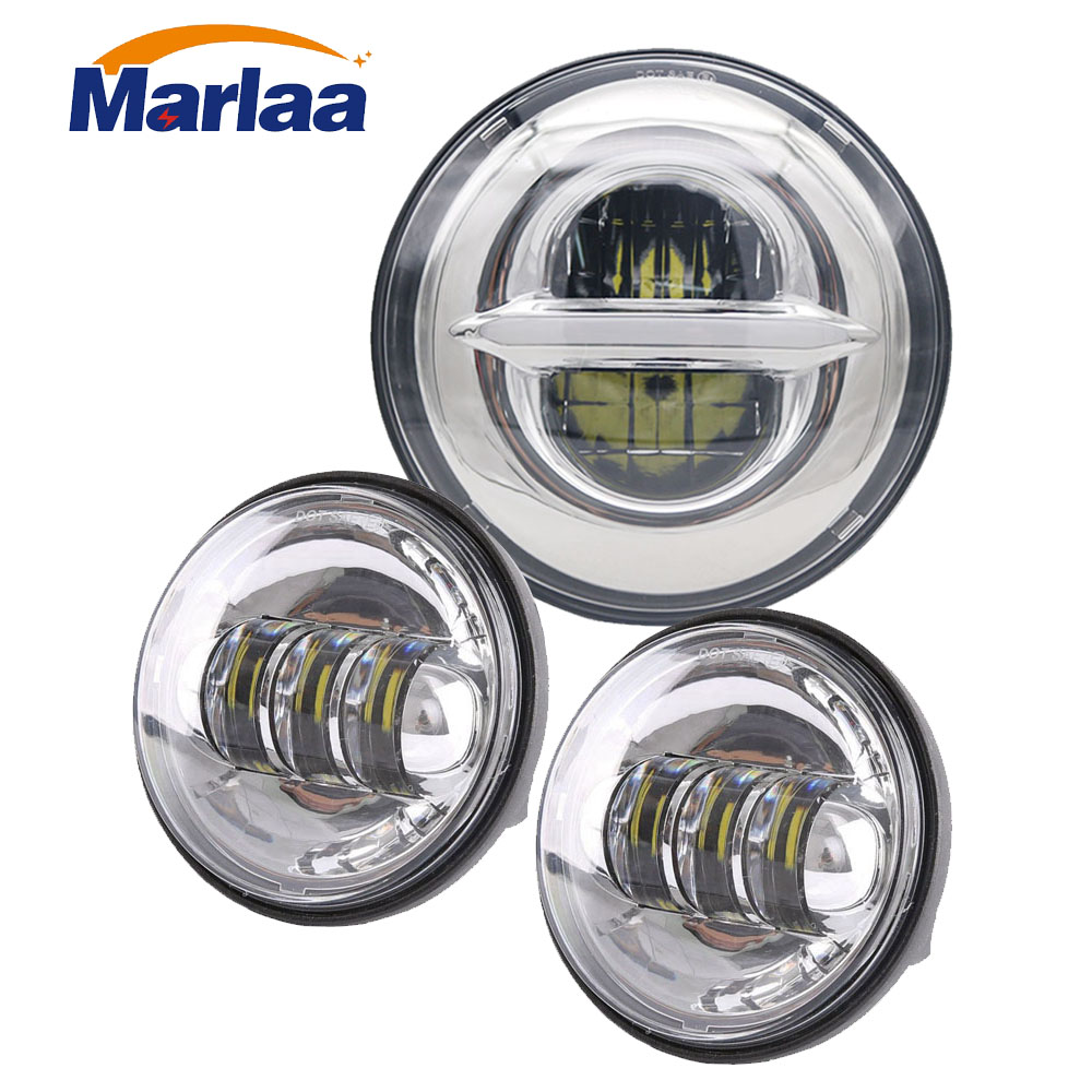 Marlaa Harley Daymaker 7 LED Headlight Projector + 2 x 4-1/2 LED Auxiliary Spot Fog Light Passing Lamp for Harley Motorcycle