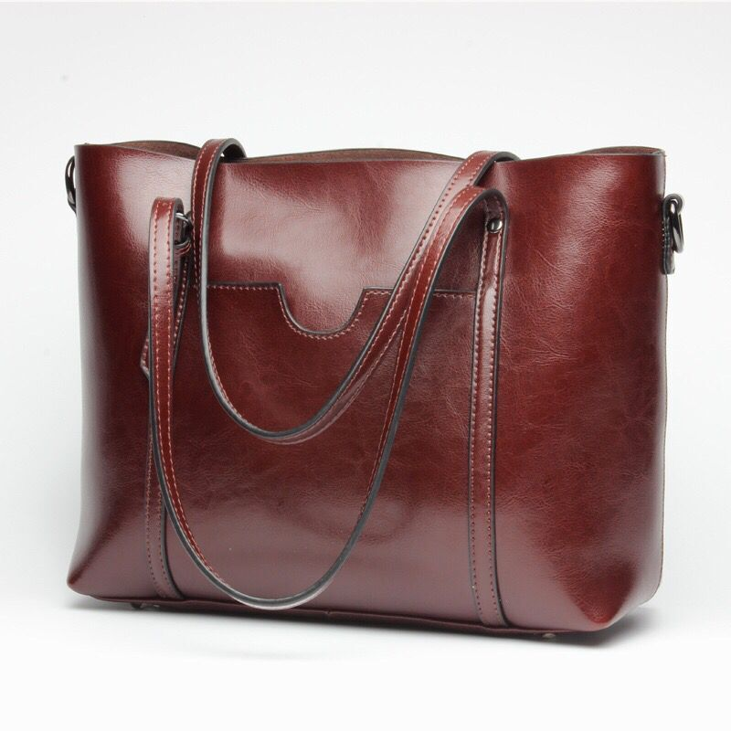 mulheres casual tote bolsa do Material : Oil Wax Cowhide