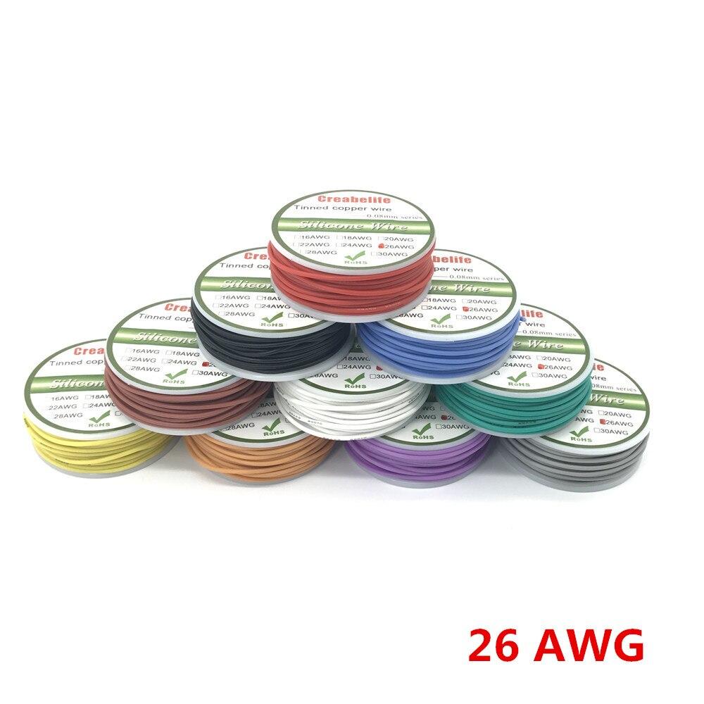 50 m 26 AWG Flexible Silicone Fil RC Câble Ligne Avec 5 Couleurs pour Sélectionner Avec Le Paquet de Bobine 1 ou Paquet 2 gucc 1:1 qualité