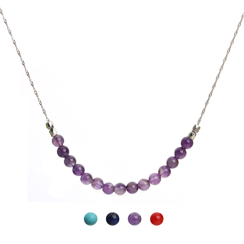 50CM Long Purple Red Coral Howlite Stone Beads Pendant Silver Color Chain Statement Necklaces Chokers for Women Collares Mujer