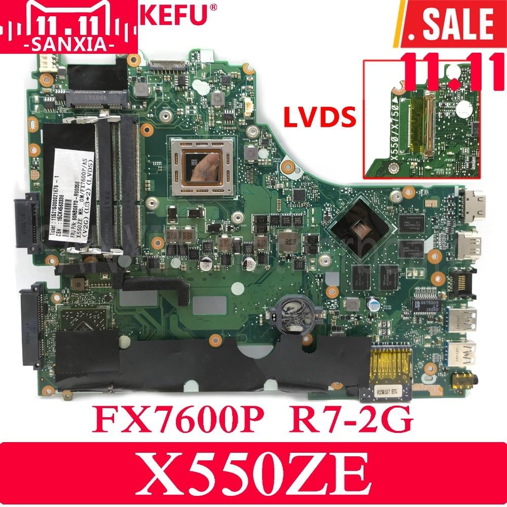 KEFU X550ZE Laptop motherboard for ASUS X550ZE X550ZA X550Z X550 K550Z VM590Z A555Z K555Z X555Z Test original mainboard FX7600P x550ze motherboard a8 7200 lvds interface for asus vm590z x550ze k555z a555z x555z k550z laptop motherboard x550ze mainboard