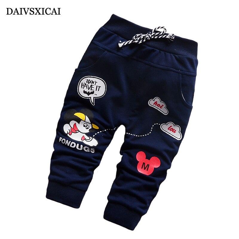 Daivsxicai Casual Cotton Pants Boy Fashion Cute Cartoon Baby Clothing Girl Brand All-Match Children Pants Boys 7-24 Month