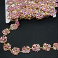 Roze AB kleur rein strass bloem kettingen trimmen voor trouwjurk decoratie 1 yard Bridal Applique Bling DIY accessoires