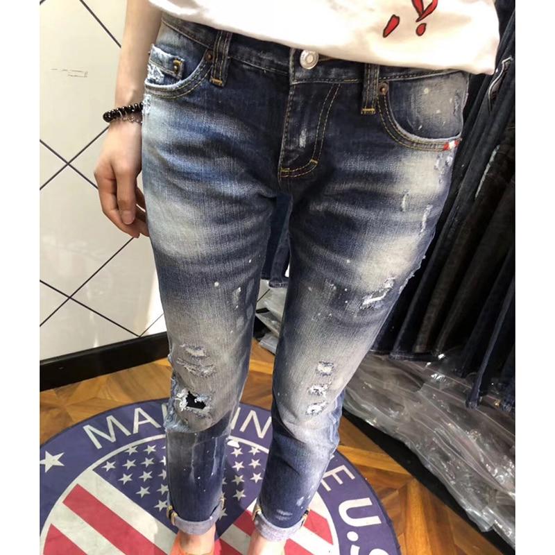 Cintura Mediados De Pantalones Delgado Feminina 2018 Azul Lápiz Flaco Vaqueros Nuevo Diseño Mujer Mujeres Las Denim Para gw1qR8v