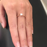 4 mét 0.5ct Carat Thanh Lịch DEF Màu Công Chúa Halo Engagement Wedding Moissanite Diamond Ring Đối Với Phụ Nữ Bất 14 k 585 Yellow Gold