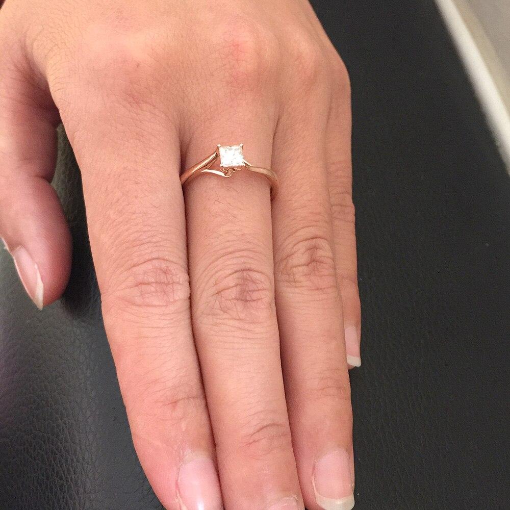 4mm 0.5ct 캐럿 우아한 def 컬러 공주 헤일로 약혼 웨딩 moissanite 다이아몬드 반지 여성을위한 진짜 14 k 585 옐로우 골드-에서반지부터 쥬얼리 및 액세서리 의  그룹 1