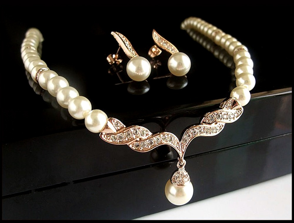 Rose Gold Bridal Jewelry Sets Cream Faux Pearl Rhinestone Crystal