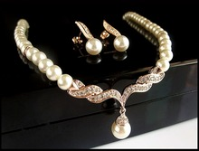 Rose Gold Plated Cream Faux Pearl and Rhinestone Crystal Bridal/Wedding Jewellery Necklace and Earrings Set elegant faux pearl crystal teardrop necklace and earrings