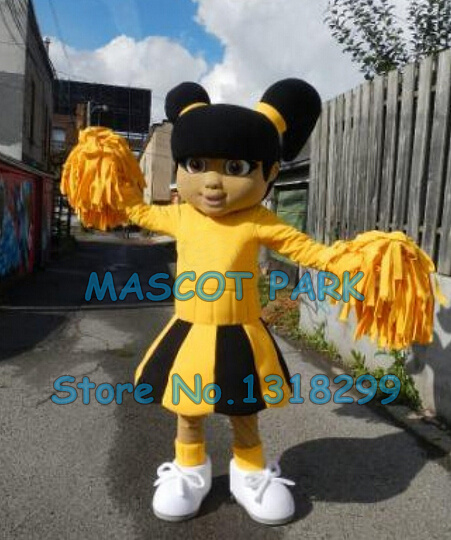 Yellow Dress Cutie Cheer Leader Mascot Costume custommizable Cartoon little Theme Anime Costumes Carnival Fancy Dress Kits