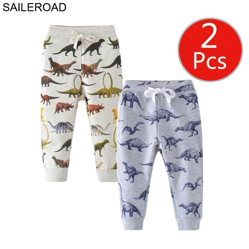 SAILEROAD 2pcs Dinosaur Pants Kids Boys Pants for Boys Animal Print Children's Pants for Baby Clothes 7Years Kids Sweatpants 4