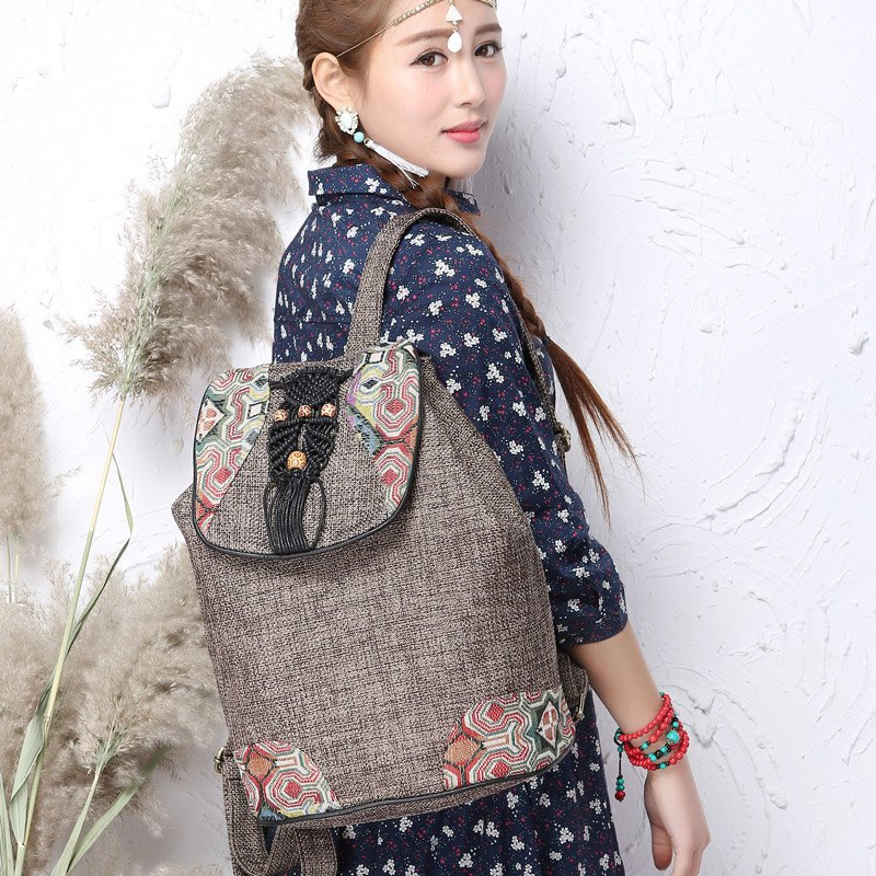 National Style Women Canvas Backpack Embroidery Backpack  Linen Drawstring Backpack Girl Shoulder Bags