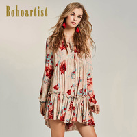 Bohoartist Women Boho Pleated Dress 2017 Floral Print Hollow Flare Sleeve Straps V Neck Ladies Elegant